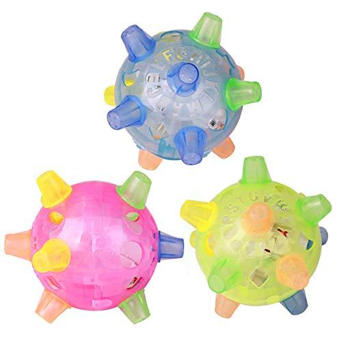Okssud Springball Blinkende Musik Ball, Hundespielzeug Ball Hundeball Pet LED Jumping Ball, Spielball Musik Bouncing Toy Tanzen Ball für Hunde Katzen