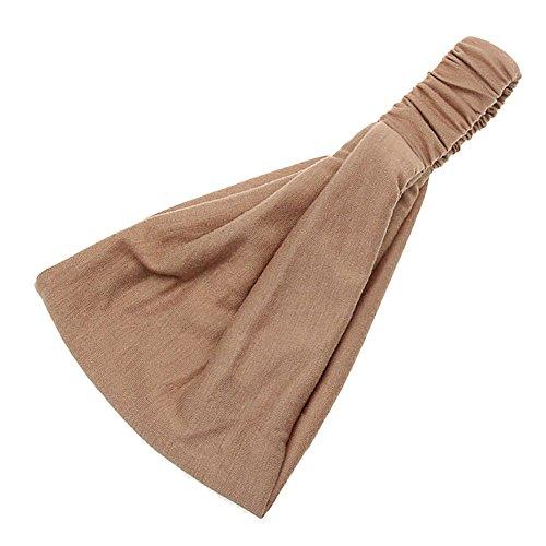 YWLINK Damen Twist Stirnband Elastisches Wickel-Turban-Haarband Breit Boho Waschen Yoga Sport Stirnband(Khaki,)