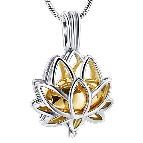 xtszlfj Collar de Regalo Lotus Hold Mini Urn Collar con Colgante de joyería de cremación de Acero Inoxidable para Cenizas