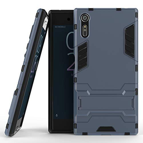 COOVY® Funda para Sony Xperia XZ de plástico y Silicona TPU, extrafuerte, con protección contra Golpes, Funda con función Atril | Color Azul Marino