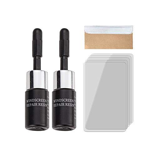 YLZQDL Kfz-Glas-Nano-Reparatur-Flüssigkeits-Kit, Auto-Windschutzscheiben-Reparatur-Kit mit Windschutzscheiben-Reparaturharz, für Windschutzscheibe/Glas-Steinschlag,Stern,Halbmond-Reparatur (2 Stück)