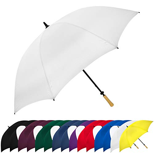STROMBERGBRAND UMBRELLAS Large Golf Windproof Umbrella 62 Arc Size for Men & Women Manual Opening, Rustproof, Lightning Resistant, White, One