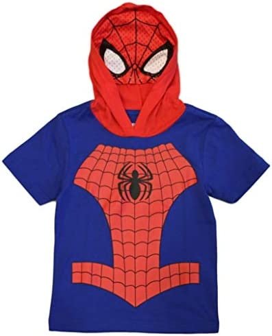 Marvel Avengers Little Boys Toddler Spiderman Hooded Tee with Mask 4T Royal Red product image