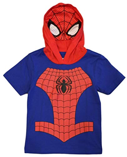 Marvel Avengers Little Boys' Toddler Spiderman Hooded Tee with Mask (4T) Royal/Red