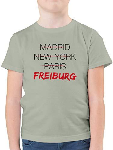 Städte & Länder Kind - Weltstadt Freiburg - 128 (7/8 Jahre) - Hellgrau - Freiburg Tshirt - F130K - Kinder Tshirts und T-Shirt für Jungen