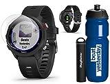 Garmin Forerunner 245 Music (Black) Running GPS Watch Runners Bundle | +Garmin Water Bottle, HD Screen Protectors & PlayBetter Portable Charger | Music & Spotify, PulseOx 2019 010-02120-20