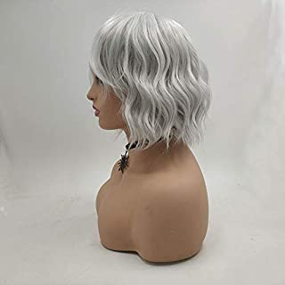 10inch Short Synthetic Wig For Women Natural Curly Silvver Color Cosplay Wigs