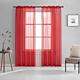 Red Sheer Voile Curtains Translucent Solid Color Window Treatment 84 Inches Long Rod Pocket Red Sheers for Bedroom Living Room 2 Panels 52x84