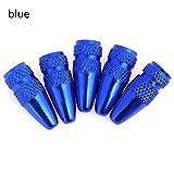 Ltong 5Pcs Set Tapa de válvula de Bicicleta de AluminioLlanta de Rueda Vástago de neumático Tapas de válvula de Aire Tapas deválvula de presión deBicicletaCubierta Antipolvo, Azul