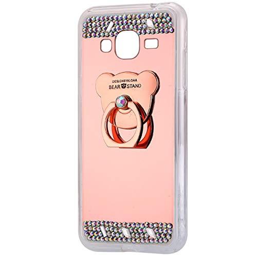 Funda Compatible Samsung Galaxy J3 2016.KunyFond Carcasa Bear Anillo Soporte Movil Purpurina Brillantes Diamante Bling Colorido Dibujo Espejo Mirror Cubierta Silicona TPU Resisten Bumper-Oro rosa