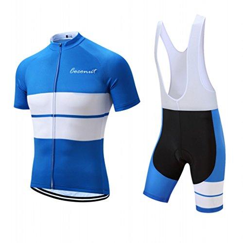 Herren Radtrikot Set Rennrad Trikot Kurzarm Radsport Kits + Trägerhose mit 3D Gepolstert -  Blau -  Klein