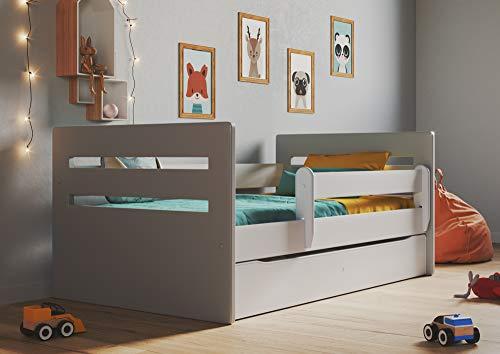 Bjird Kinderbett Jugendbett 80x160 Grau mit Rausfallschutz Schubalde und Lattenrost Kinderbetten für Mädchen und Junge - Tomi 180 cm