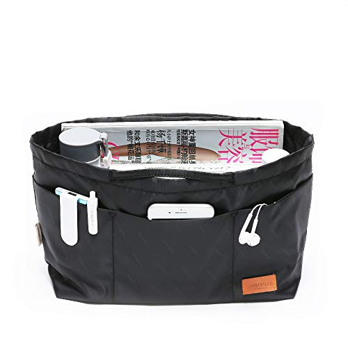 iN. Purse Organizer Insert with zipper, Nylon fabric Storage Bag with handles, for womens Handbags & Tote bags, neverfull, lightweight medium sized Black
