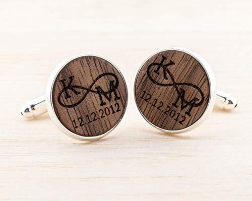 Personalisierte Manschettenknöpfe Holz, personalisiertes Geschenk für Ihn, gravierte Manschettenknöpfe, romantisches Geschenk für Ehemann
