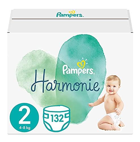 Pampers Baby Windeln Größe 2 (4-8 kg) Harmonie, 132 Stück, HALBMONATSBOX, Sanfter Hautschutz Und Pflanzenbasierte Inhaltsstoffe