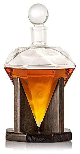SYZHIWUJIA Decanter di Whisky, Decantatore di Vino in Vetro diamantato Creativo, per liquori, Scotch, Rum, Bourbon, vodka-1000ml Decanter