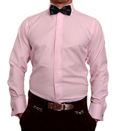 Paco Romano Paco Romano Slim Fit Smoking Hemd Rosa Struktur Schwarze Fliege New Kent Kragen Langarm Größe S 37