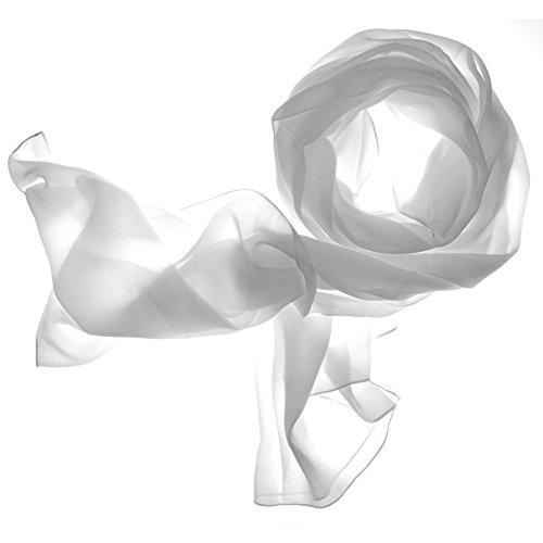 DOLCE ABBRACCIO by RiemTEX ® Schal Damen LADY SUNSHINE Seidentuch Tücher mit hohem Seidenanteil Pashmina Stola Tuch in elegantem Weiß Halstuch Kopftuch Damen Seidenschal Elegante Schals (Weiss)