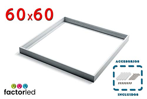 FactorLED Panel Surface Kit 60 x 60 met wit frame, gemaakt van Aluminium, Kit voor plafonds.