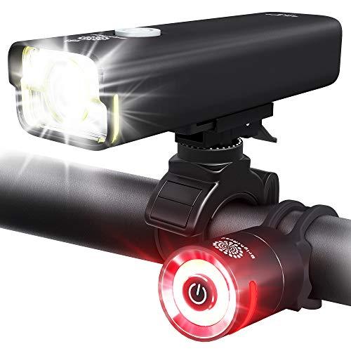 BrightRoad Pro Bike Headlight Super Bright 8000 (FL1 800) Lumens, Bike Lights Front and Back...