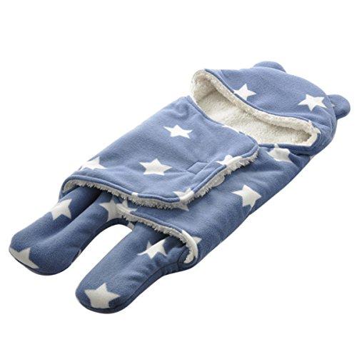 Happy Cherry Arrullo Mantita Envolvente con Estampado y Felpa Saco de Dormir Swaddle Blanket para Bebés Recién Nacidos 0-3 Meses