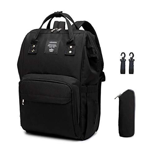 Mochila para pañales, bolsa grande para bebé, bolsa para pañales de viaje con puerto de carga USB, Negro (Negro), Large