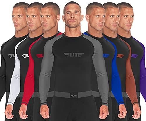 Elite Sports BJJ Jiu Jitsu Rash Guard, Men's BJJ, No GI, MMA Ranked Full Sleeve Compression Rash Guards (Gray, Medium)