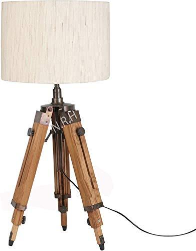 Lámpara de pie ajustable trípode de madera lámpara de decoración del hogar sin sombra (sin sombra)
