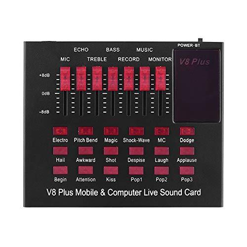 Fesjoy Sound Card Soundkarte Audiomixer Mikrofon Mobiler Live-Soundkarte Live Sound Card Multifunktionale wiederaufladbare mobile und Computer-Live-Soundkarte USB-Audio-Schnittstelle mit mehreren Sou