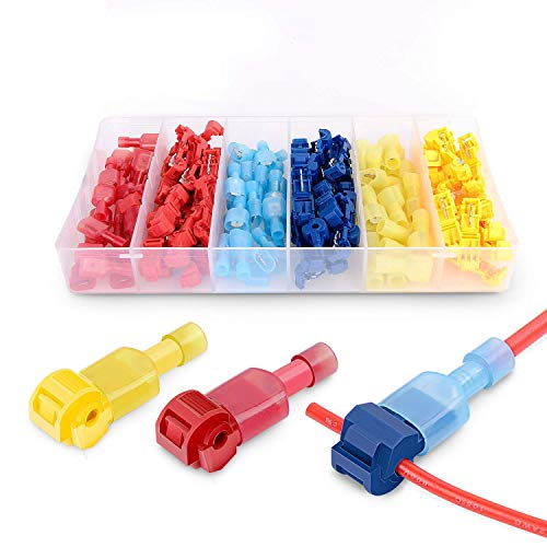 240Pcs T-Tap Wire Connectors, Self-Stripping Quick Splice Electrical Wire Terminals, Insulated Male Quick Disconnect Spade Terminals Assortment Kit with Storage Box, 240 Pcs/120 Pairs