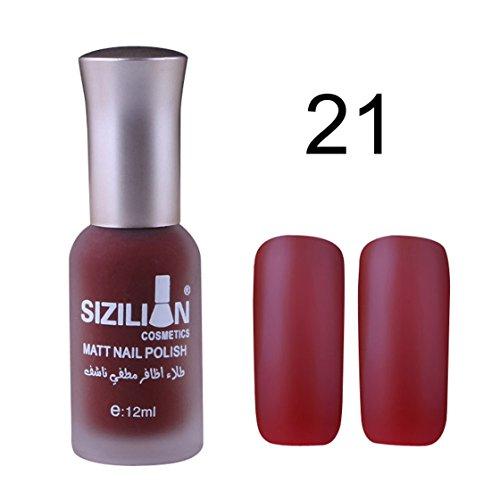 Vovotrade ❃❃❃Scrub matte nail polish 12ml Art Matte Dull Nail Polish Fast Dry Long Lasting SIZILIAN_Hot Pink (Rose vif A)