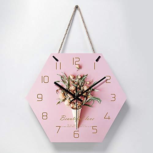 CEyyPD Moda Acrílico Rosa Grupo De Flores Patrón Hexágono Cordón Reloj De Pared/Reloj