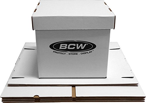 BCW 33 RPM 12' Vinyl Storage Box with Lid | Holds up to 65 LP's or Laser Discs | White (5-Boxes)