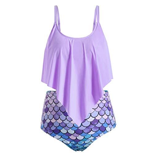 Ruffles Bikini-Set Damen Sommer, 2019 Blumen BöHmischer Druck Damen Bikini Badeanzug Set RüSchen Streifen Bademode Tankini Bademode Badeanzug
