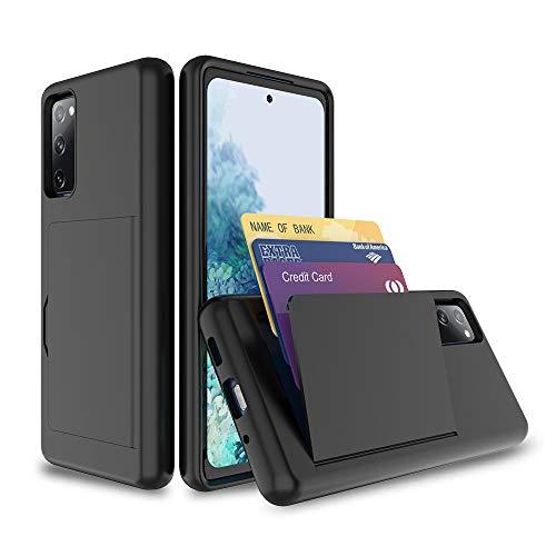 FDTCYDS Funda para Galaxy S20 FE con soporte para tarjeta, a prueba de golpes de silicona híbrida resistente funda protectora para Samsung Galaxy S20 FE, color negro