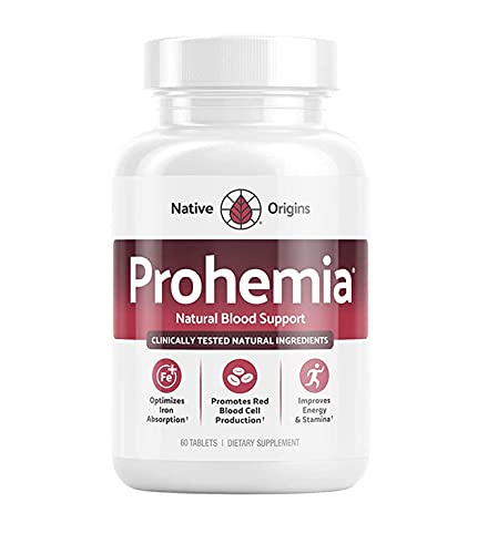 PROHEMIA Natural Blood Builder and Support for Healthy Iron Levels, Oxygen and Red Blood Cells Production, Non-GMO - 60 Tablets
