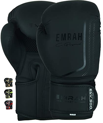 EMRAH ESV-300 Guantes de Boxeo Muay Thai Training DX Hide Leather Sparring Sacos de Boxeo Mitones Kickboxing Lucha (Negro Mate, 14 oz)