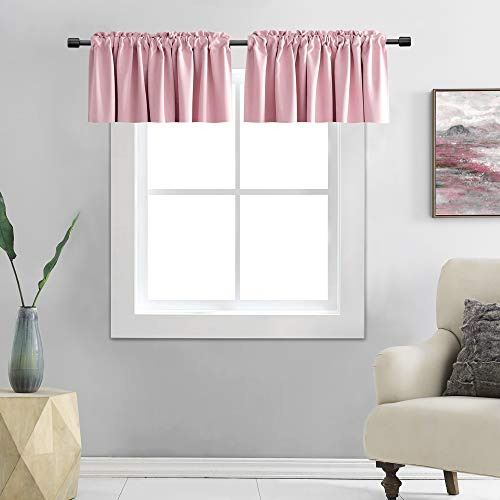 DONREN Pink Blackout Valances for Nursery Window Valances for Girls Room with Rod Pocket (42 by 12 Inch,2 Panels)