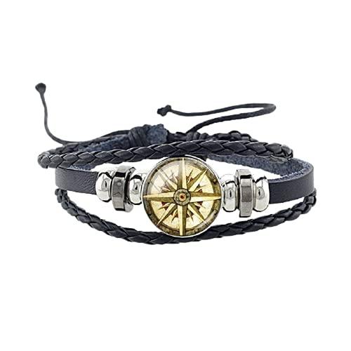 Moda Steampunk reloj patrón negro brazaletes tierra mapa bandera encanto pulseras para hombres mujer fiesta joyería