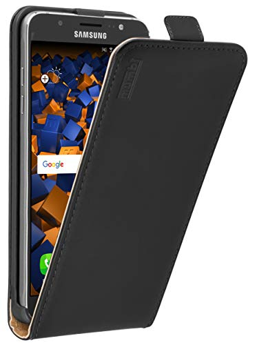 mumbi Tasche Flip Hülle kompatibel mit Samsung Galaxy J7 2016 Hülle Handytasche Hülle Wallet, schwarz