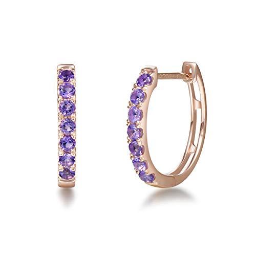 Solide 14 Karat 585 Rose Gold Creolen Huggies Ohrringe mit Echt Natürlich Amethyst Schmuck für Damen Mädchen - Durchmesser: 15 mm