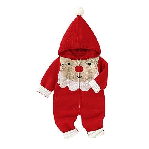 Taotigzu Mono de punto para bebé con gorro, ropa de Navidad para bebés, niños pequeños, niñas, cálido invierno, rojo, 18-24 Meses