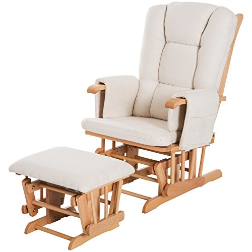 HOMCOM 2 Piece Glider Recliner Rocking Chair with Ottoman Set - White/Natural Wood