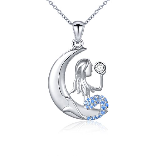 DAOCHONG Mermaid Necklace for Women S925 Sterling Silver Mermaid Crescent Moon Pendant Necklace Gifts for Women,18 inches