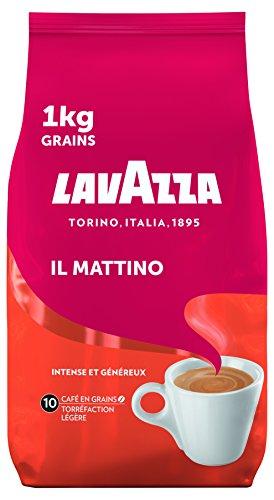 Lavazza Il Mattino Café en Grains, Robusta, Torréfaction Légère, Paquet de 1kg