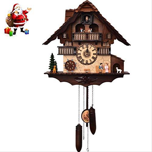 Forest Cuckoo Wall Clock, Fashion Morden Rustic Wall Clock, Movimiento Quieten Timekeeping Watch, para Navidad Decoración Herramientas Regalos Sala De Estar Dormitorio Niños, 46.5 * 45Cm