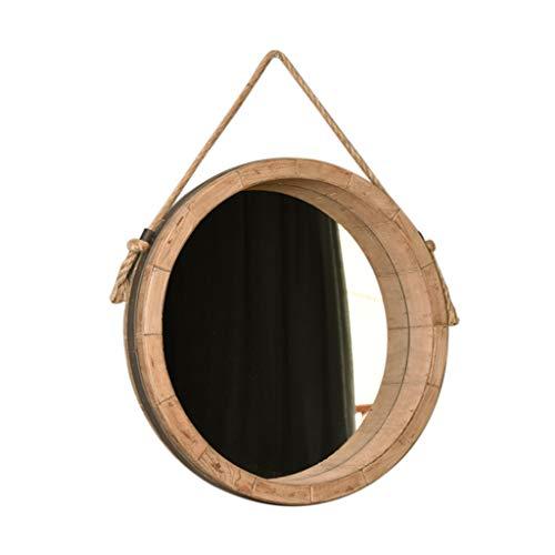 Flashing Kapspiegel met eenvoudige leeftijd aan de muur bevestigde stijl, creatieve ronde houten rand-decoratieve spiegel - badkamer-woonkamer-slaapkamer-decoratieve wand-hangende spiegel