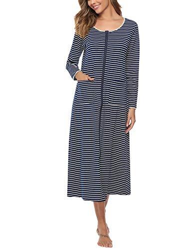 Sykooria Nachthemd Damen Lang Baumwolle Gestreifter Nachtkleid Morgenmantel Stillnachthemd Sleepwear mit Taschen S-XXL