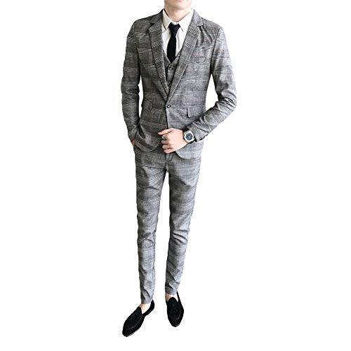 [YUNCLOS]スーツ メンズ スリーピーススーツ メンズ カジュアルスーツ メンズ 上下セット 礼服スーツ チェック ビジネス 就職