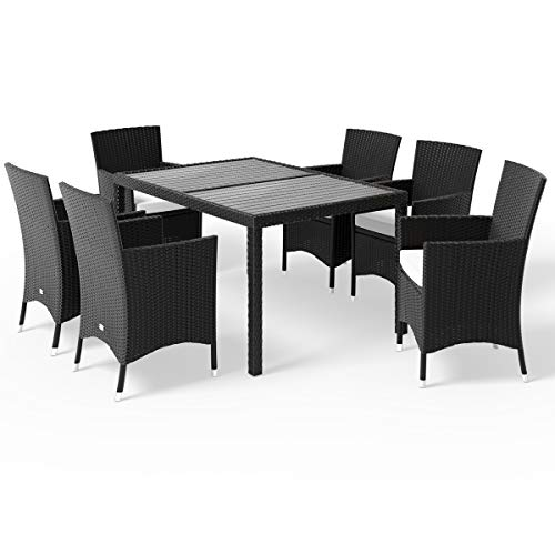 Deuba Poly Rattan Garden Dining Table Chairs Set Furniture WPC Tabletop Black Outdoor Patio Conservatory (6 Seater)